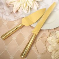 Simple Classic Gold Cake Knife & Server Set